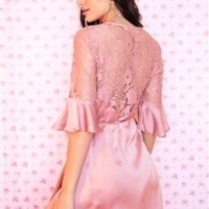 Dresses - Dusty Pink Satin Mini Dress